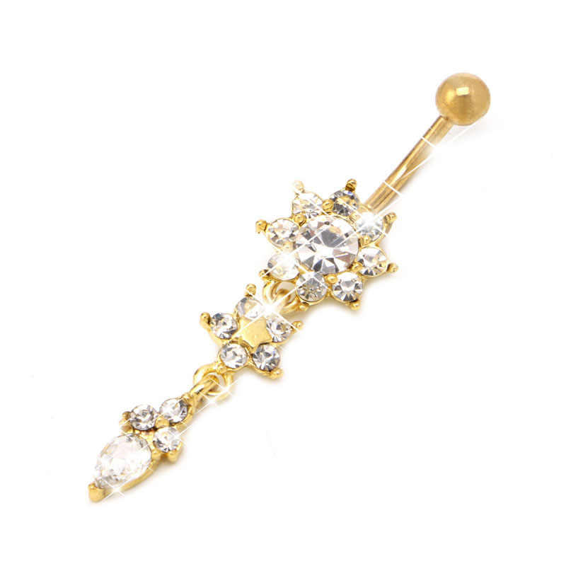 New Chic Flower Rhinestone Dangle Navel Belly Button Ring Body Piercing Jewelry