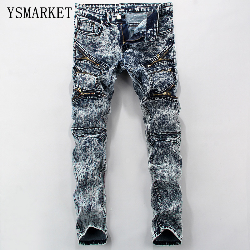 2018 High Quality Elastic Men Slim Moto Pencil Jeans Pant Denim Trousers Jeans Snow Wash Rock Fit Casual Male Jeans Pants E6605