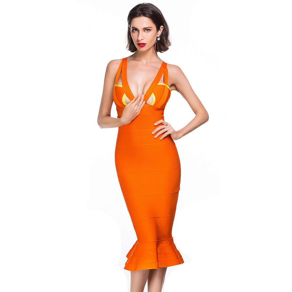Sirène V Col Robe Midi En Chic Élégante Orange Nu Dos Bandage Découpez Spaghetti Strap Keyhole 6gIyvYbf7