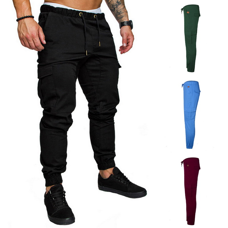 Puimentiua Spring Men Casual Pants 3XL Hip  Harem Trousers Pants Male Multi-Pocket Solid Sweatpants Plus Size Streetwear(China)