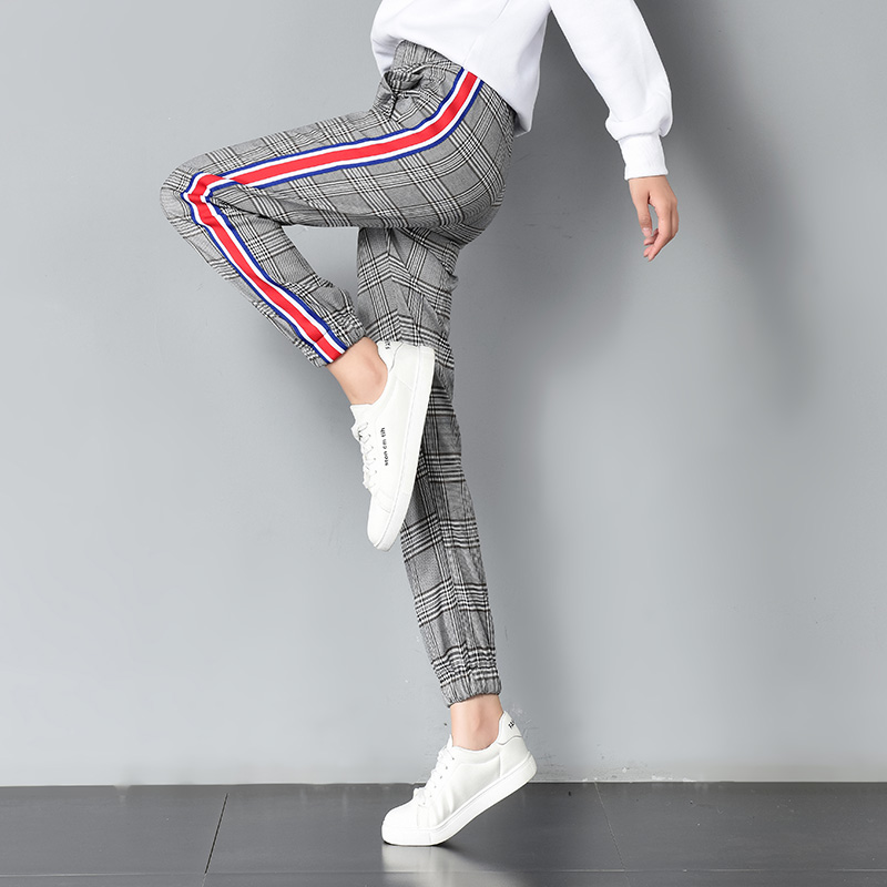 35c13d96 US $16.99  Fashion Plaid Pants Women 2017 Autumn Winter New Arrival Side  Striped Harem Pants Pockets Slim Trousers Women Pantalon Femme-in Pants &  ...