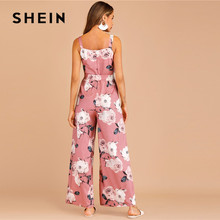 Sleeveless Boho Back Zip Belted Pink Jumpsuit