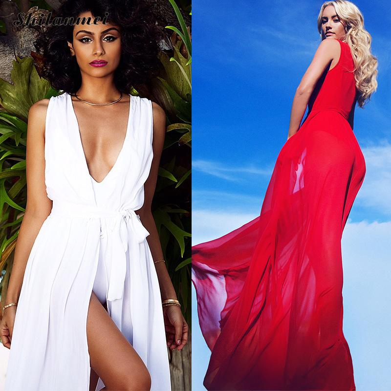 Beach Dress Tunic 2017 Summer Swimwear Cover Ups Long Maxi Bohemia Wrap Dress Vestidos De Playa White Red Bathing Suit