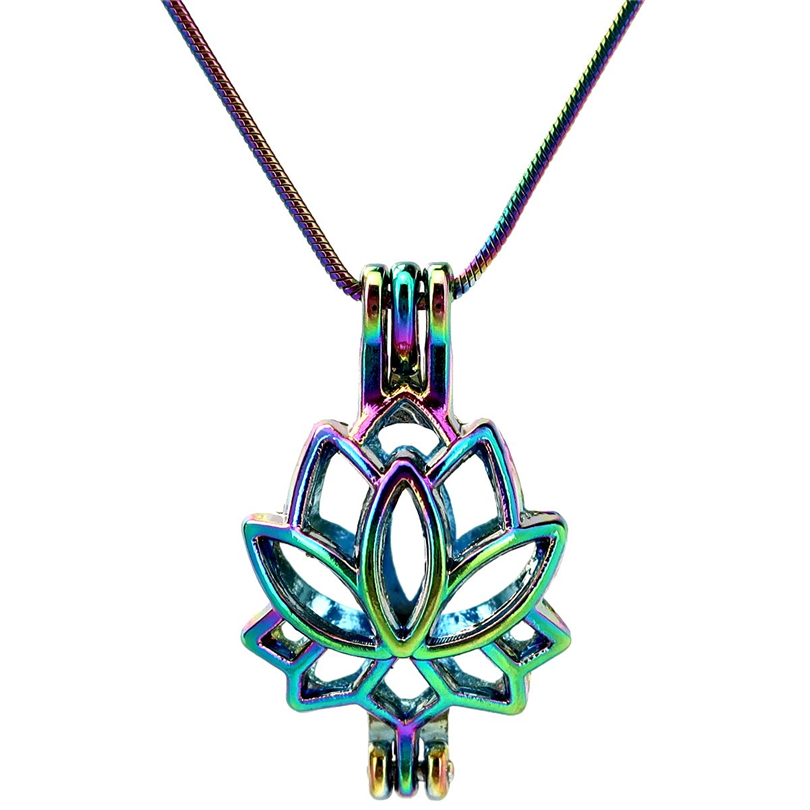 """22"""" Rainbow Color Snake Chain Pick a Pearl Lotus Flower Beauty Cage Locket Aroma Essential Oil Diffuser Pendant (S-PC-52)"""