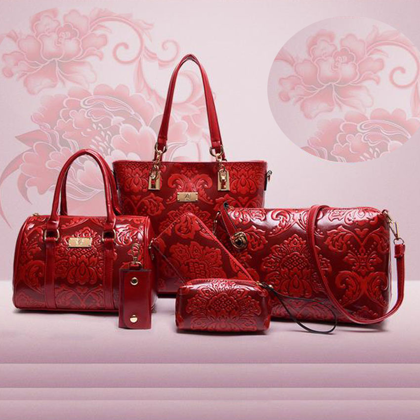 6 PCS Set font b Women b font Bag Vintage China Style Pattern Composite Bag Luxury