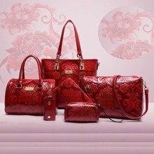 6 Unids/set Mujeres Bolsa de Estilo De China de la Vendimia Patrón Compuesto Bolsa de Mensajero de Las Mujeres de Lujo Bolso de Marca Bolso de Hombro de la Cartera de LA PU Ataúd
