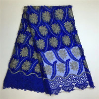 Best Quality African Lace Fabric Blue Swiss Voile Lace High Quality Embroidery French Mesh 2018 New Nigeria Lace Fabric Material