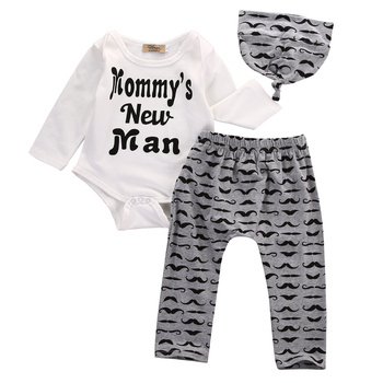 Cute 3PCS Set Newborn Baby Boy Clothes Lovely Mommy's New Man Mustache Print Bodysuit Tops Long Pants Hat Outfits 0-18M 1