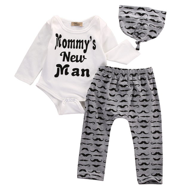 Cute 3PCS Set Newborn Baby Boy Clothes Lovely Mommy's New Man Mustache Print Bodysuit Tops Long Pants Hat Outfits 0-18M