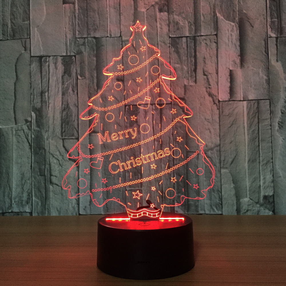 Creative Christmas Tree Colorful Night Light LED Touch Dimming Eye Study Lamp Acrylic Lamp Bedroom Decoration Light