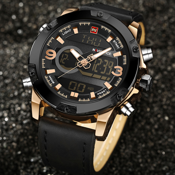 NAVIFORCE Men's Luxury Dual Time Display Waterproof Calendar Chronograph Leather Quartz Watches 3