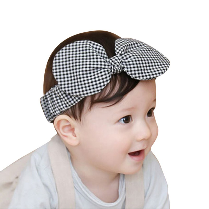 Plaid Big Bow-knot Hair Band Kids Baby Headwear Headband Toddler Girls 2018 new fashion Accessories
