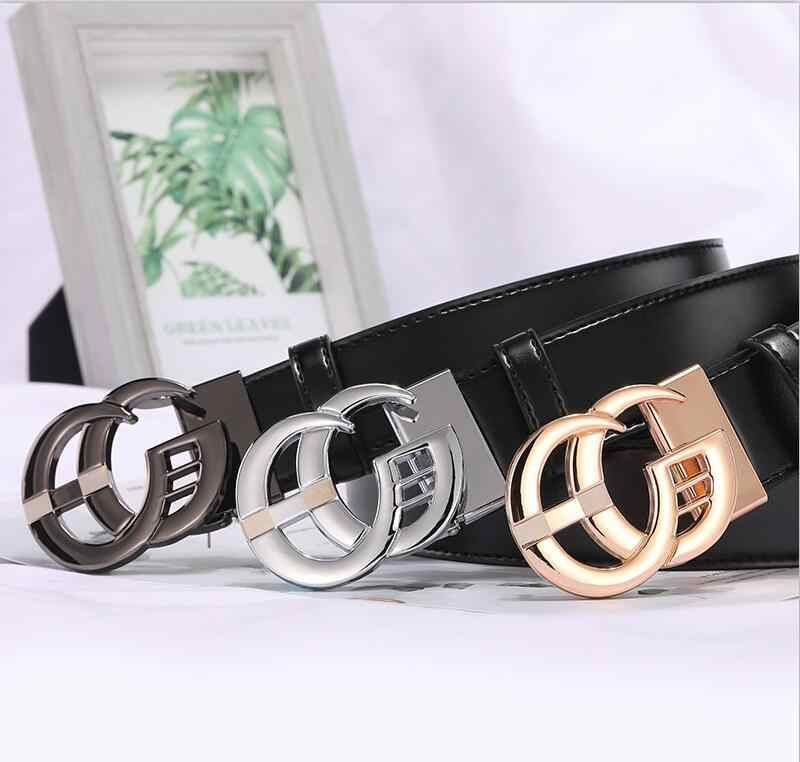 32ee322a1 2019 New Fashion Style Real cowhide man women leather leisure belt smooth  Gold Silver black buckle