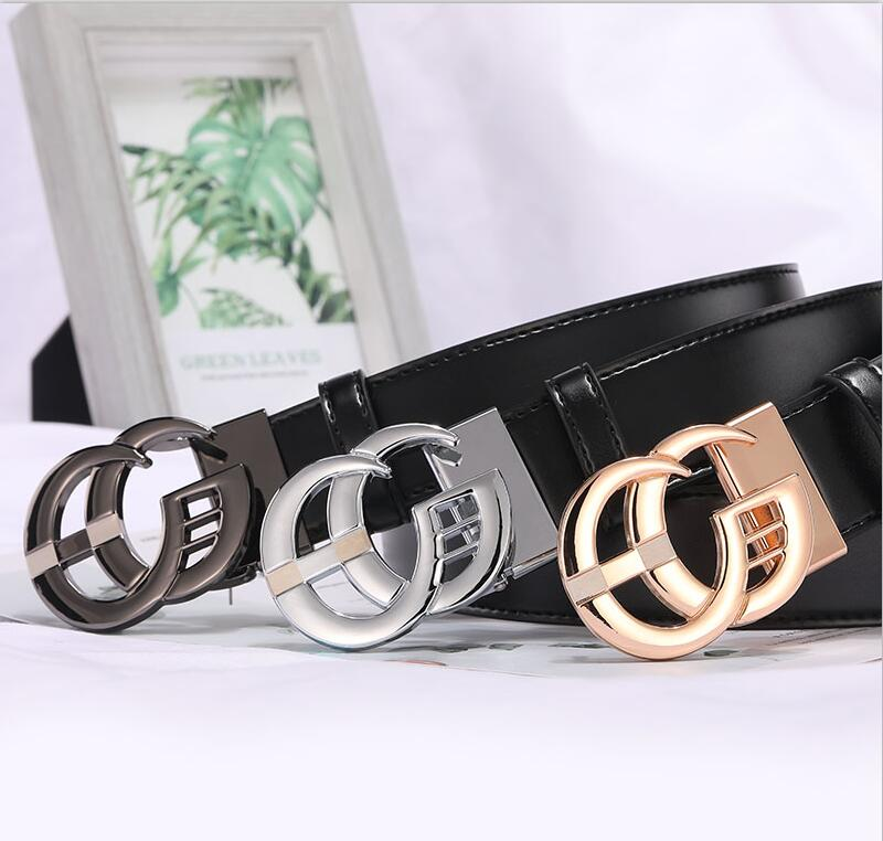 2019 New Fashion Style Real cowhide man women leather leisure belt smooth  Gold Silver black buckle fashion popular lady straps-in Men's Belts from Apparel Accessories