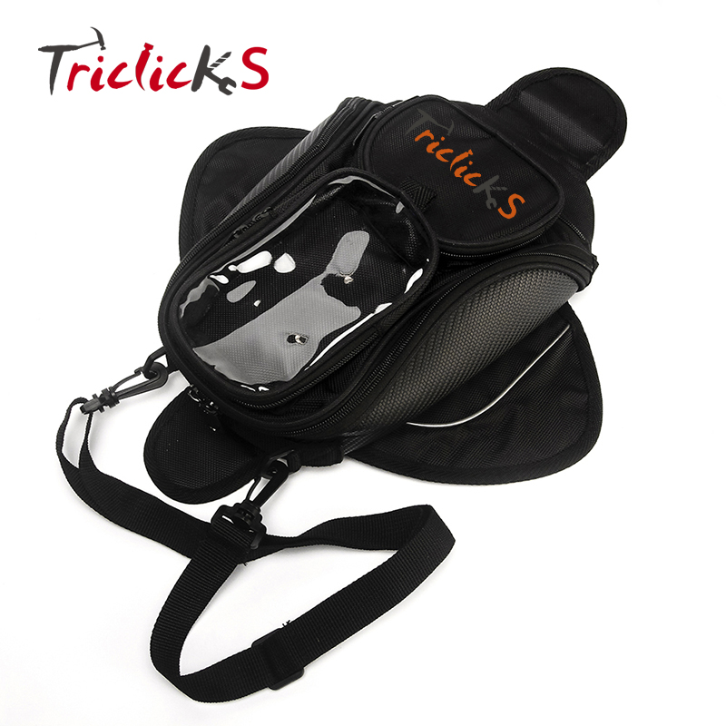 Triclicks Magnetic Motorcycle Motorbike Tank Bag Black Universal Waterproof Backpack Oil Fuel Tank Bags Saddle Bag Bigger Window in Tank Bags from Automobiles Motorcycles