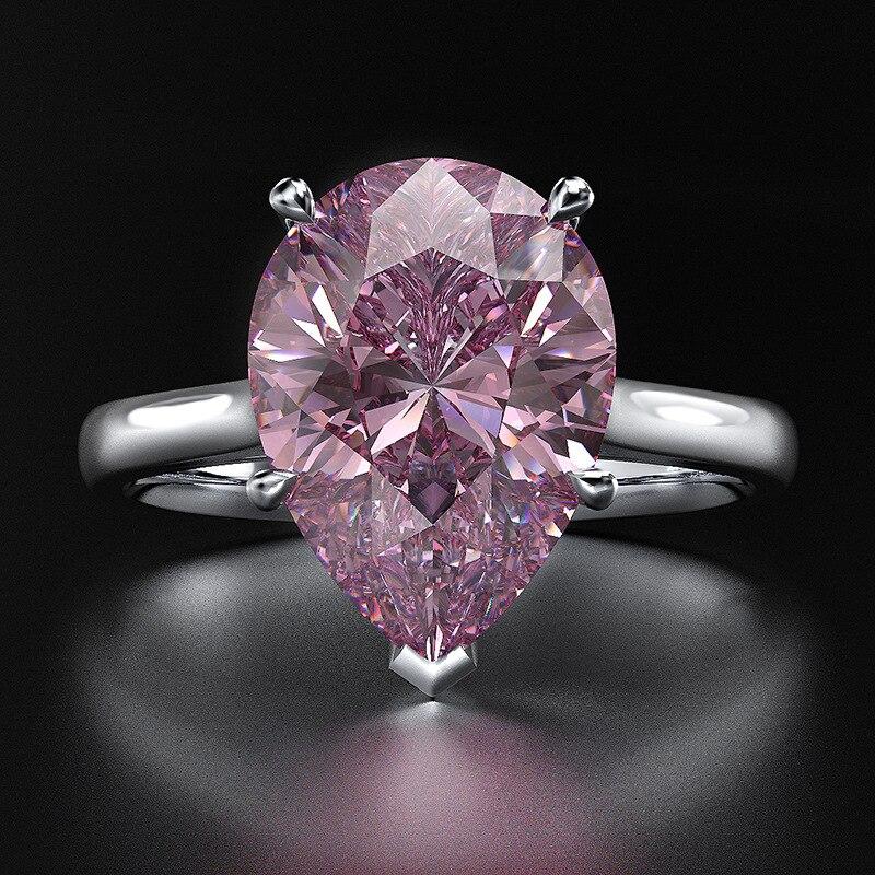 Mode rose zircon cubique bague coeur en argent sterling pour les femmes de mode de mariage de mariée couple bague