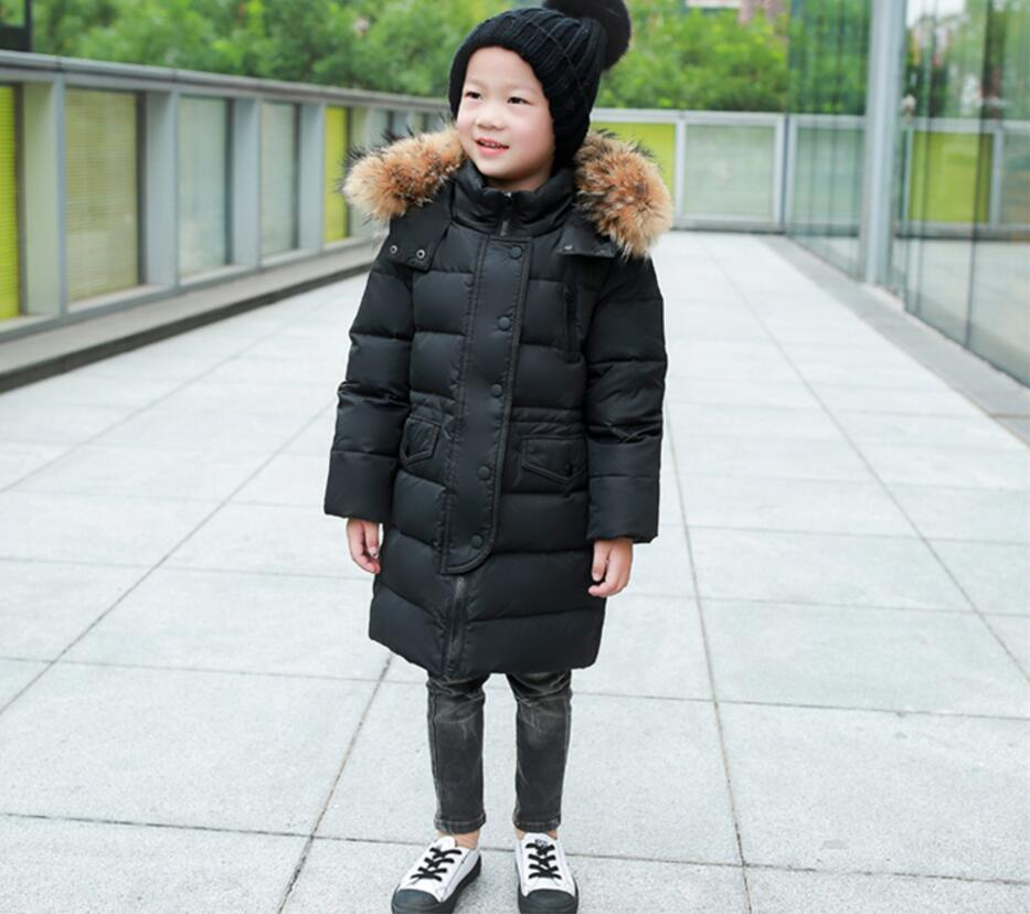 Фото Boy toddlers winter jackets warm white duck down coat kid parka thick faux fur hooded jacket cotton padded outwear children baby