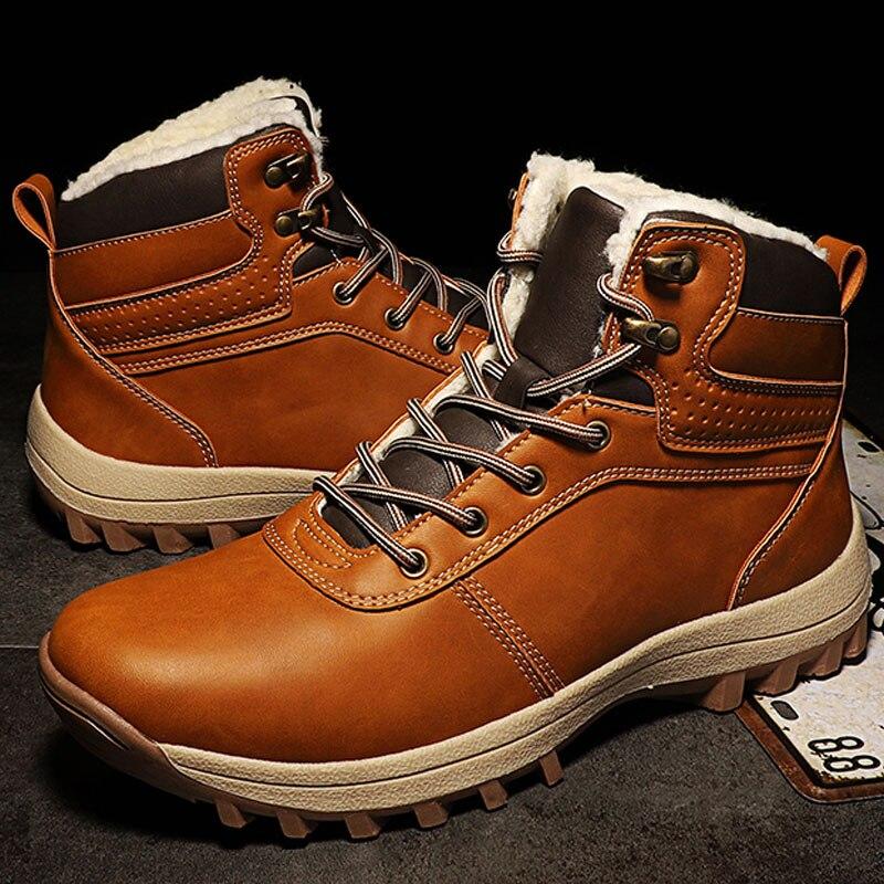 Hiver Hommes Bottes En Cuir chaussures 2018 Vintage Style Hommes Chaussures Casual Mode Homme Chaussures Neige Bottes Hommes Cheville Bottes Plus39-46