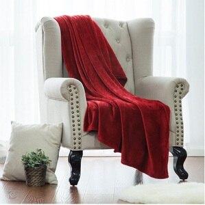 Image 4 - Couverture jeté blanche en tissu microfibre, en flanelle, pour lit, pour voyage, couverture polaire chaude, corail