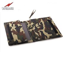 1x Wama Folding 5000mAh Camouflage Charger 12W Solar Panels Mobile Phones Power Bank 18650 Batteries USB Outdoors Waterproof