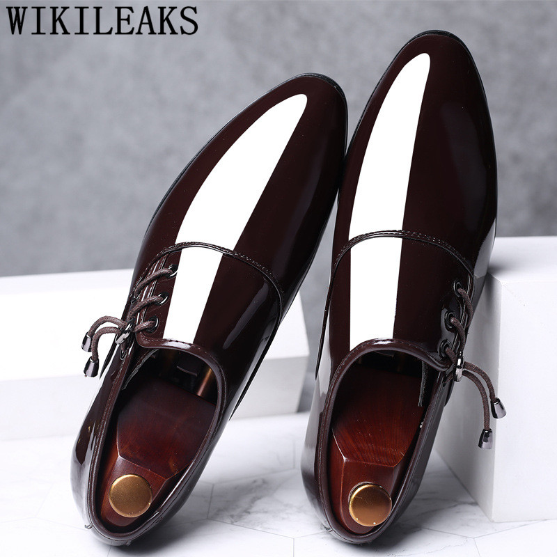 Mens Dress Shoes Patent Leather Pointed Toe Men Party Wedding Shoes Derby Shoes Oxford Shoes For Men Zapatos De Vestir HombreMens Dress Shoes Patent Leather Pointed Toe Men Party Wedding Shoes Derby Shoes Oxford Shoes For Men Zapatos De Vestir Hombre