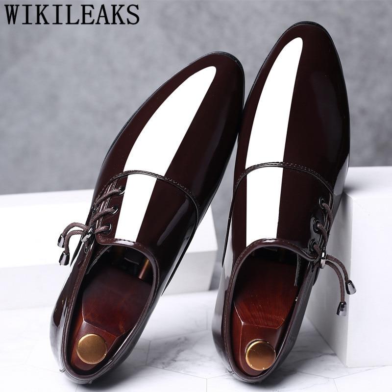 Mens Dress Shoes Patent Leather Pointed Toe Men Party Wedding Shoes Derby Shoes Oxford Shoes For Men Zapatos De Vestir Hombre