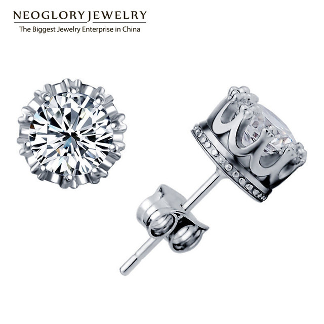 Neoglory Jewelry Zircon High End Stud Round Earrings For Women 2018 New Arrival Wedding Brand