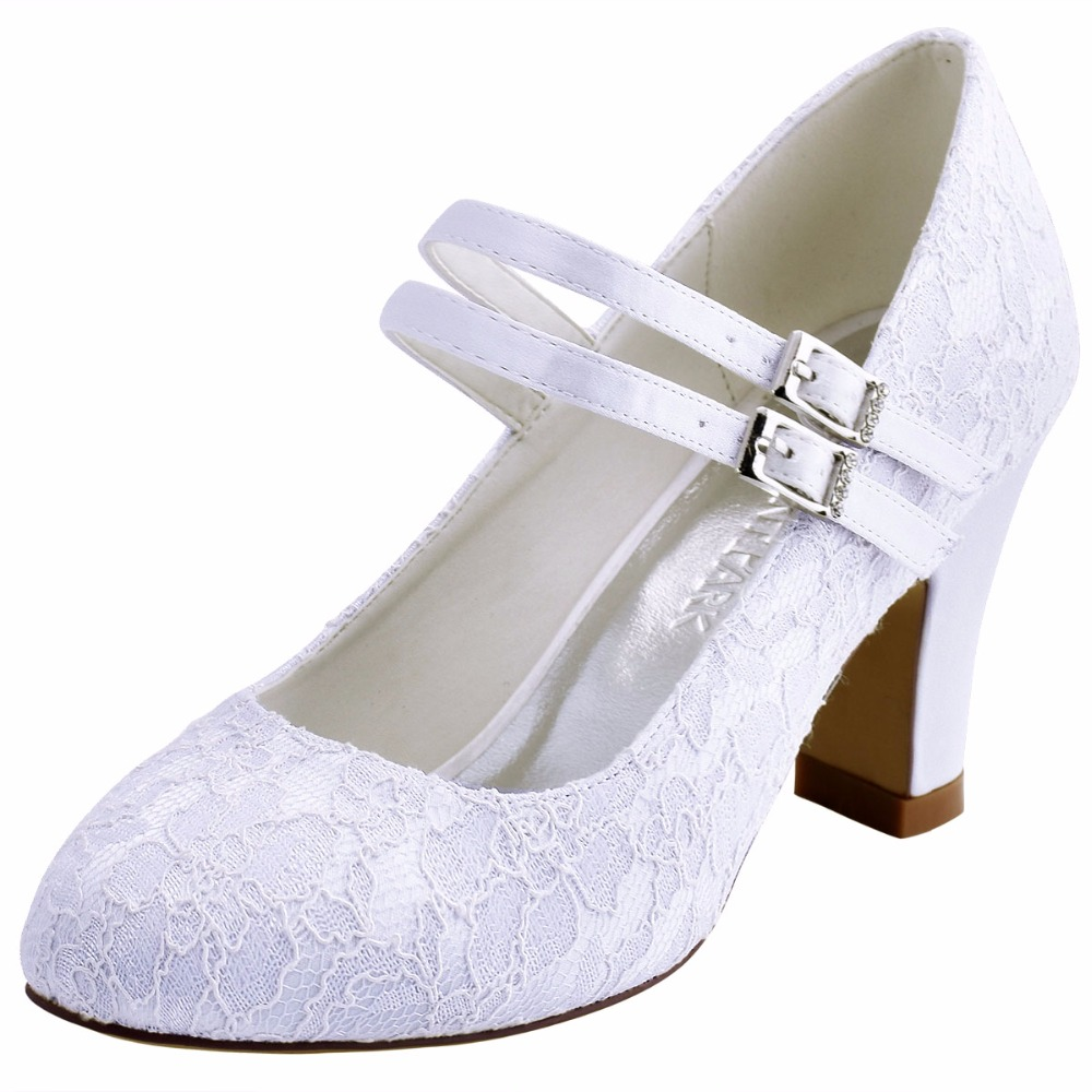 Woman Shoes HC1708 Ivory Mary-jane Pumps Party Round Toe Med Heel Lace Satin Buckle Bridal Prom Wedding Shoes