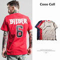 Men's T-shirt Summer Bieber 6 brand Harajuku Button Justin Bieber yeezy high street  tee Hip Hop top O-neck Cooo Coll