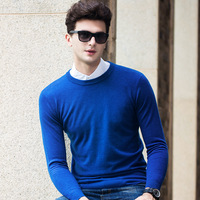 2019 New Autumn Mens Sweaters 100% pure merino Wool Blue 10 Color Knitted Brand Clothing For Man's Slim Knitwear Male Pullovers