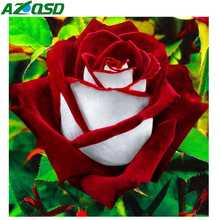AZQSD Diamond Embroidery Flowers Handmade Painting Rose Picture Of Rhinestones Mosaic Home Decor Crafts Gift