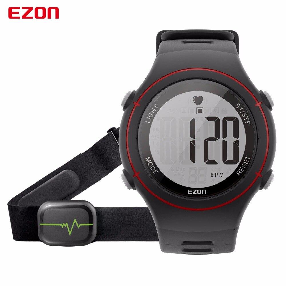 ФОТО New EZON T037 Men Women Sports Wristwatch Digital Heart Rate Monitor Outdoor Running Watches Alarm Chronograph smart watch