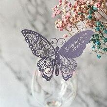 60 шт. бабочка Лазерная карточка с именем и местом стаканчик бумажная карта таблица марка бокал вина Свадебные сувениры вечерние украшения Свадебный декор