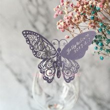 60pcs Butterfly Laser Name Place Card Cup Paper Card Table Mark Wine Glass Wedding Favors Party Decoration Wedding Decor