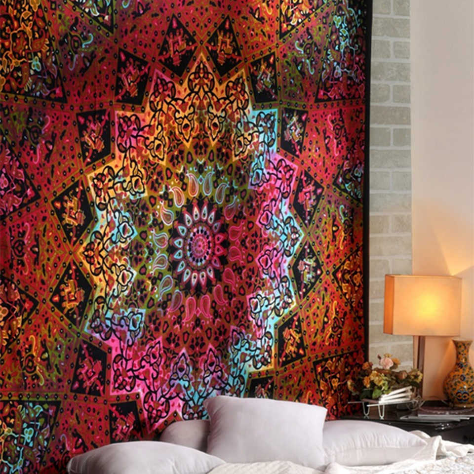 US Ship Art Hippie Flower Print Tapestry Room Bedspread Wall Hanging Tapestries