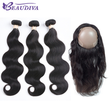 BEAUDIVA Pre-Colored Human Hair Weave Body Wave Bundles With 360 Lace Frontal 1B Natural Black