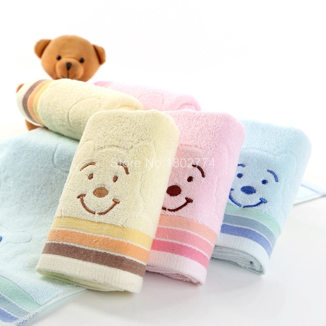 Universal Cartoon Embroidered Towel 33*74cm Blue Pink Yellow Cute Bear  Cotton Wash Cloth Bath