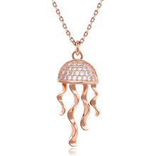 Necklace Women rose gold CZ Paved Bling Jellyfish pendant necklace female models cute charm fashion jewelry decorations