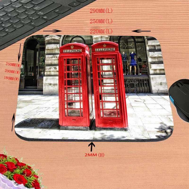 Diyの赤い電話ボックスタイプ非スリップ長方形耐久性コンピュータマウスパッド、を飾るあなたの机デザインとしてギフト