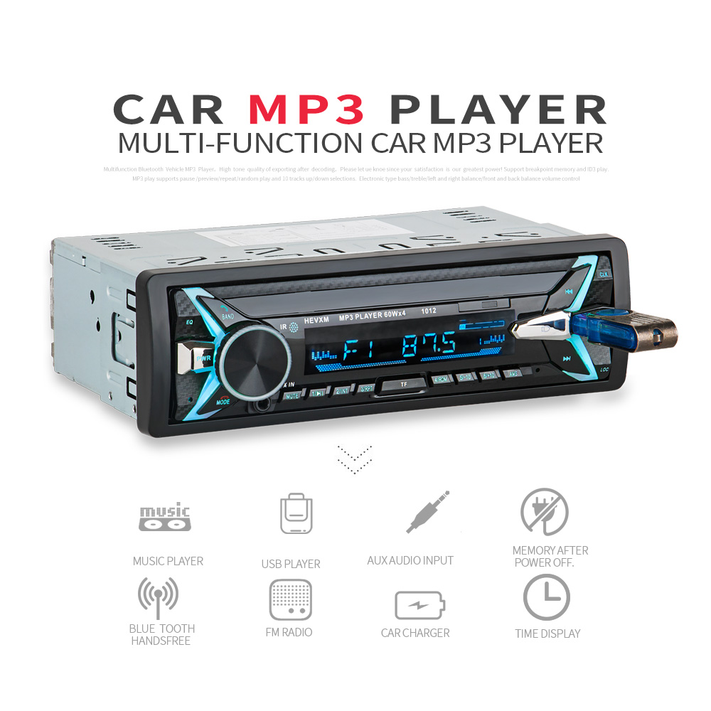 1012 Wireless Car Kit Multifunction Bluetooth Vehicle MP3 Player U Disk player 3.5mm AUX FM Radio Audio Adapter Car charger-in Car MP3 Players from Automobiles & Motorcycles