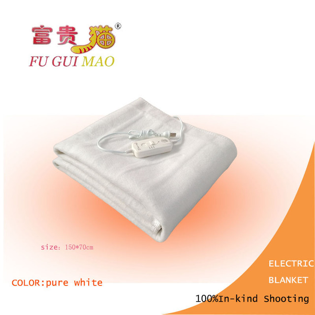 FUGUIMAO غطاء كهربائي أبيض نقي مانتا Electrica 150x70 سنتيمتر بطانية التدفئة الكهربائية للسرير 220 فولت بطانية صوف كهربية الجسم أدفأ
