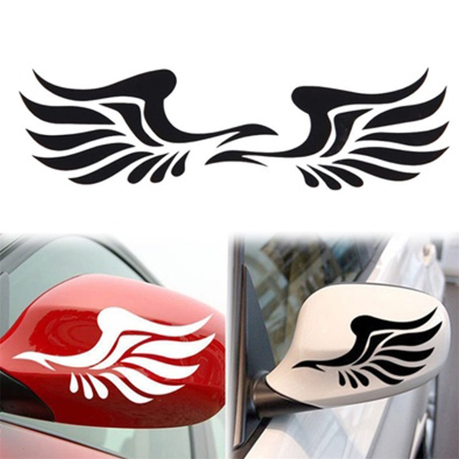 1 pair car stickers decorative stickers personality fire wings side mirror free shipping white color in car stickers from automobiles motorcycles on