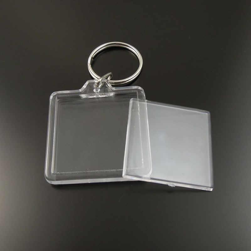 8 cái/gói Trong Suốt Trống Acrylic Chèn Ảnh Khung Ảnh Bên Trong 33*33 mét Keyring Key Chain Chia Nhẫn Key Chain Gift 35658