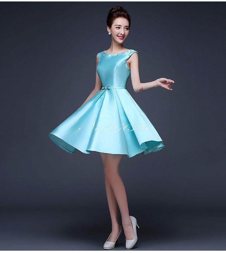 Robe de demoiselles d honneur pour mariage 2019 new satin crystal fluffy pregnant turquoise   bridesmaid     dresses   short plus size