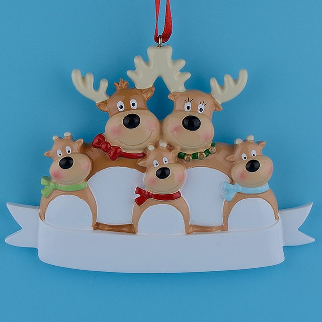 Reindeer Family Of 5 Resin Hanging Personalized Christmas