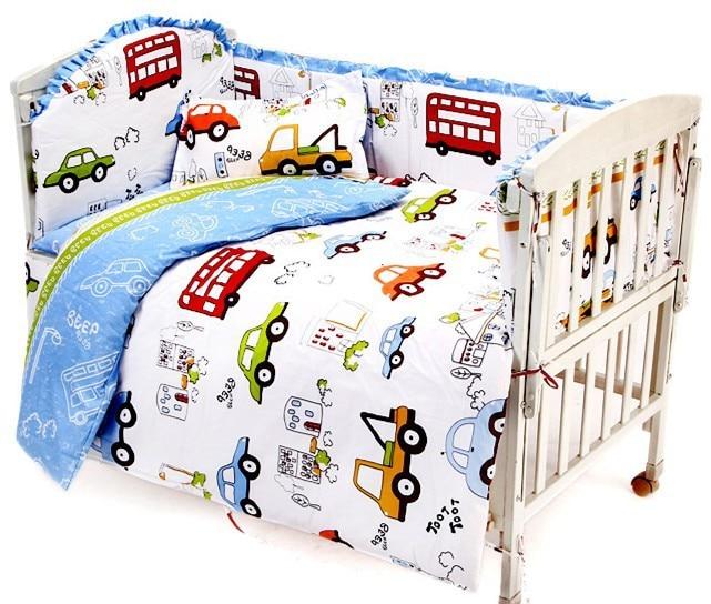 9PCS Infant Newborn Crib Bedding set Cartoon Kids Crib Bed Sheets 100% Cotton Baby Bedclothes,4bumper/sheet/pillow/duvet