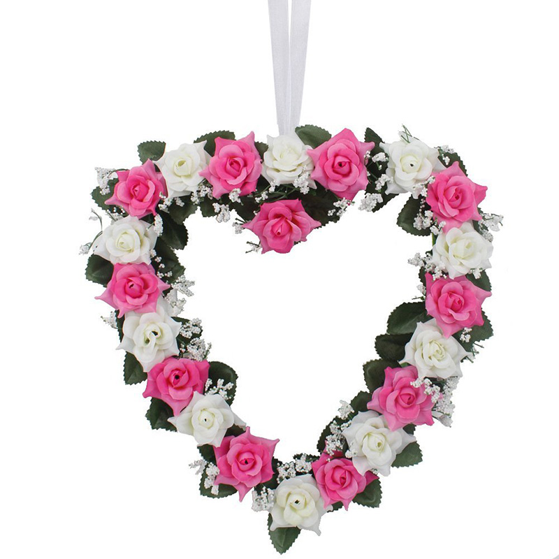 None Fake Silk Rose Ivy Vine Artificial Flowers Hanging Wedding Road Flower Wreath Heart Style Festival Supplies Decoration-35