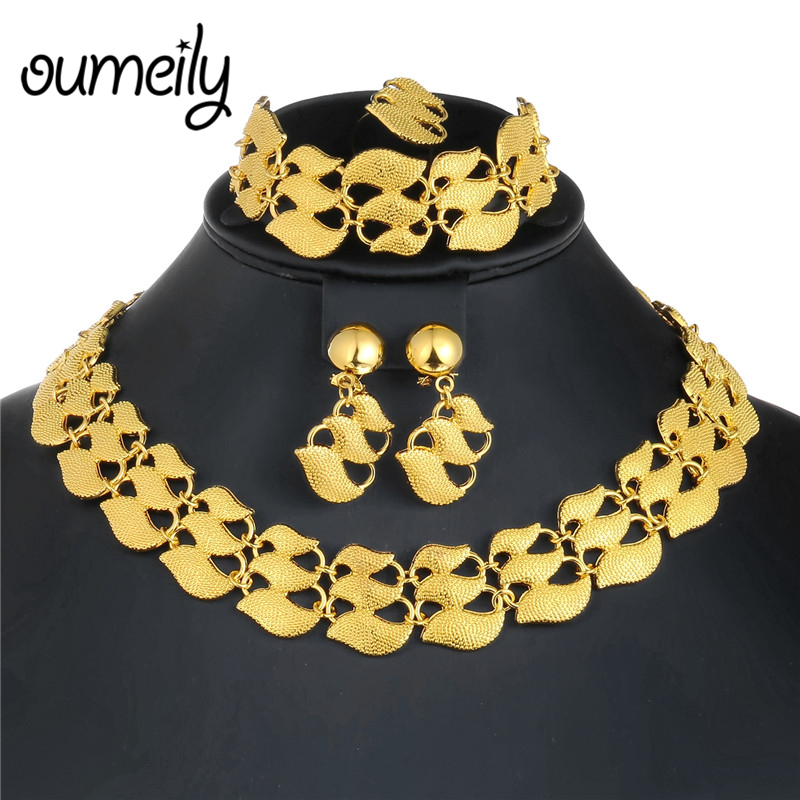 OUMEILY Fashion Dubai African Jewelry Set Nigerian Wedding Jewelry Set For Women Brides Gold Color <font><b>Indian</b></font> Jewellery Set image