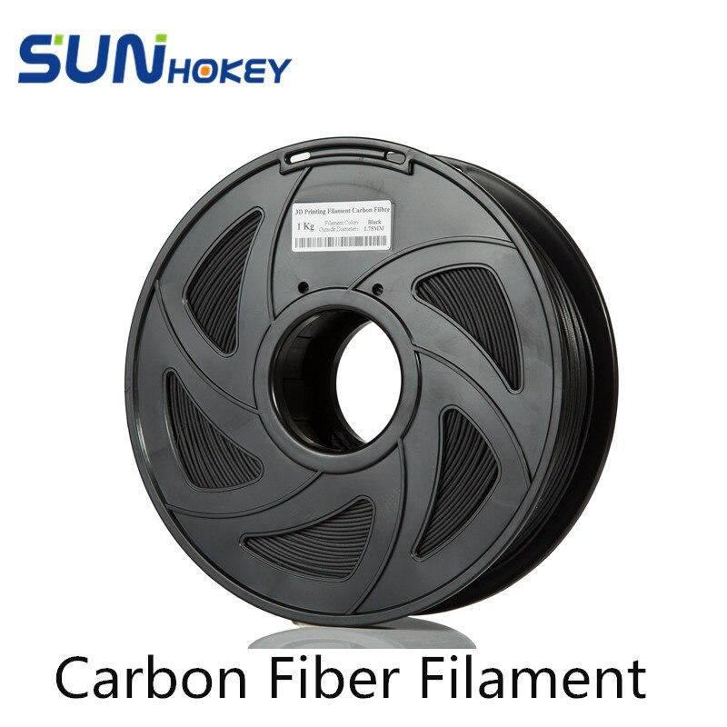 Sunhokey High Quality 1.75mm 1KG/Roll Carbon Fiber Filament 3D Printer filament For 3D Printing 3d printer filament pla 1 75mm 1kg plastic rubber consumables material 10 kinds colours for you choose