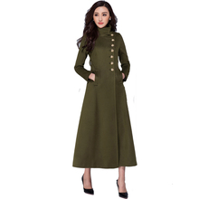 Womens Wool Jacket Coat 2016 Winter Fashion Plus Size Ultra Long Slim Outwear Stand Collar Single Breasted Elegant Cashmere Coat